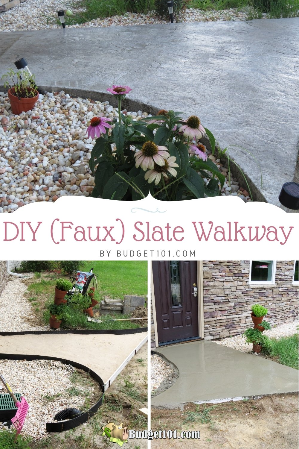 This DIY (faux) Slate Walkway can save you hundreds of dollars & it's pretty darn easy to recreate! #DIY #Walkway #FauxSlate #TexturedWalkway #Concrete #Budget101