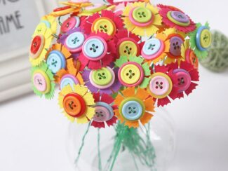 Kids DIY Button Bouquet Flower Craft Kits Kindergarten Handmade Creative Toys for Children Button Flower Teacher1