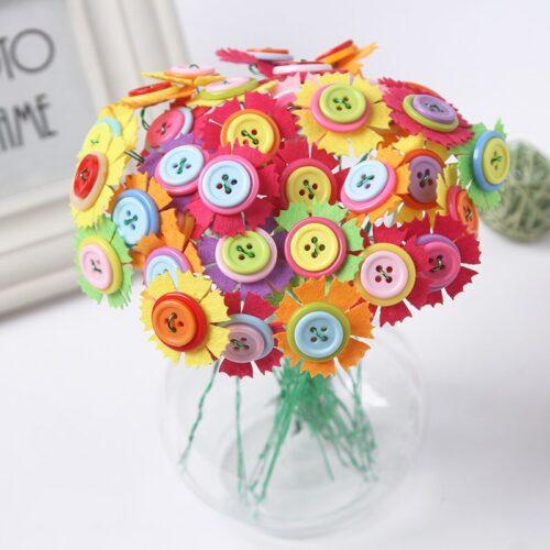 Kids DIY Button Bouquet Flower Craft Kits Kindergarten Handmade Creative Toys for Children Button Flower Teacher1