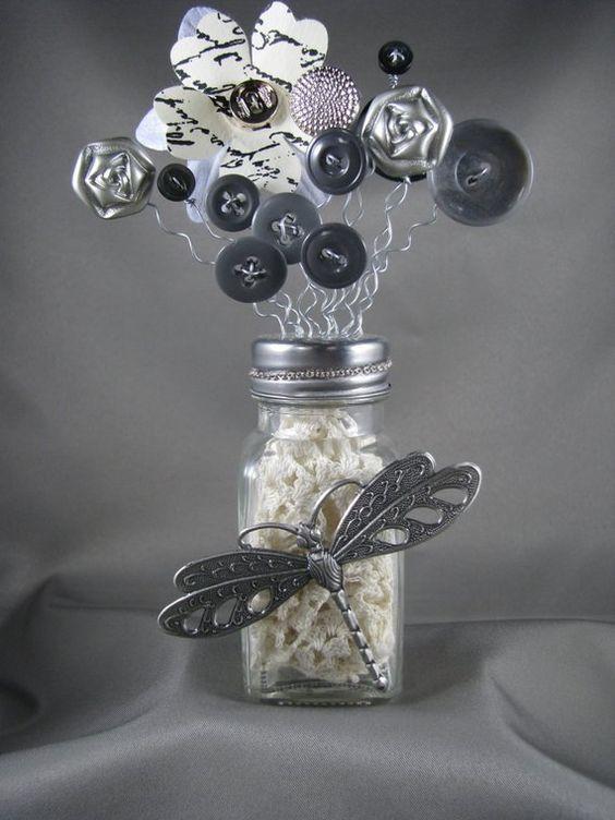 Dragonfly Salt Shaker Flower Buttons
