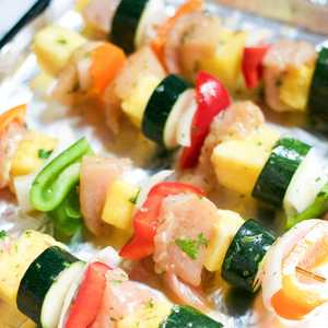 Baked Honey Lime Chicken Kabobs