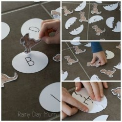 DIY Dinosaur Learning Game for Upper and Lower Case Letter Matching