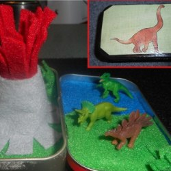 Dinosaur Small World in an Altoid Tin