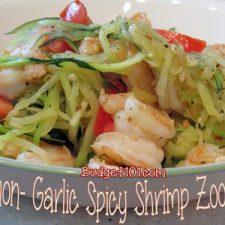 Lemon Garlic Spicy Shrimp Zoodles