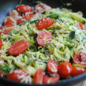 Parmesan Zucchini Noodles with Tomato & Basil