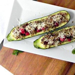 Quinoa and Sausage Stuffed Zucchini