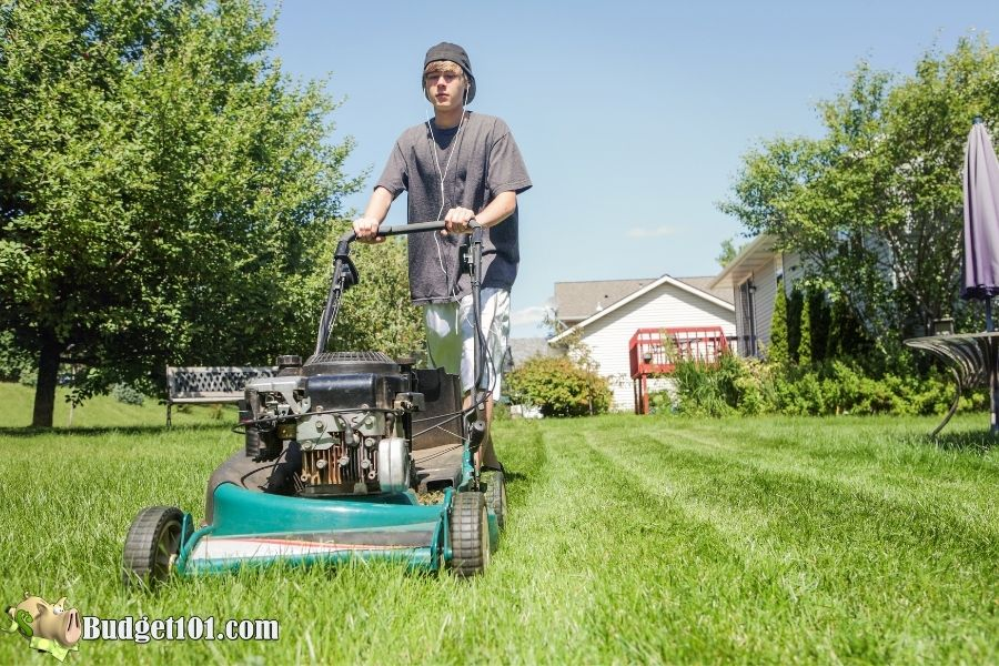 kid mowing lawn fathers day