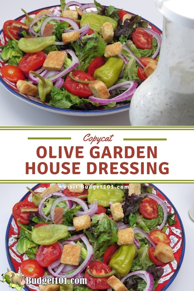 recreate the flavor of olive garden salad and house dressing with this easy copycat recipe from #Budget101 #Copycat #OliveGarden #OliveGardenRecipes #MYO #Homemade #DirtCheap