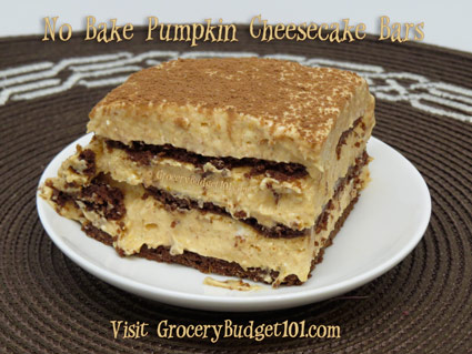 No Bake Pumpkin Chocolate Cheesecake Bars