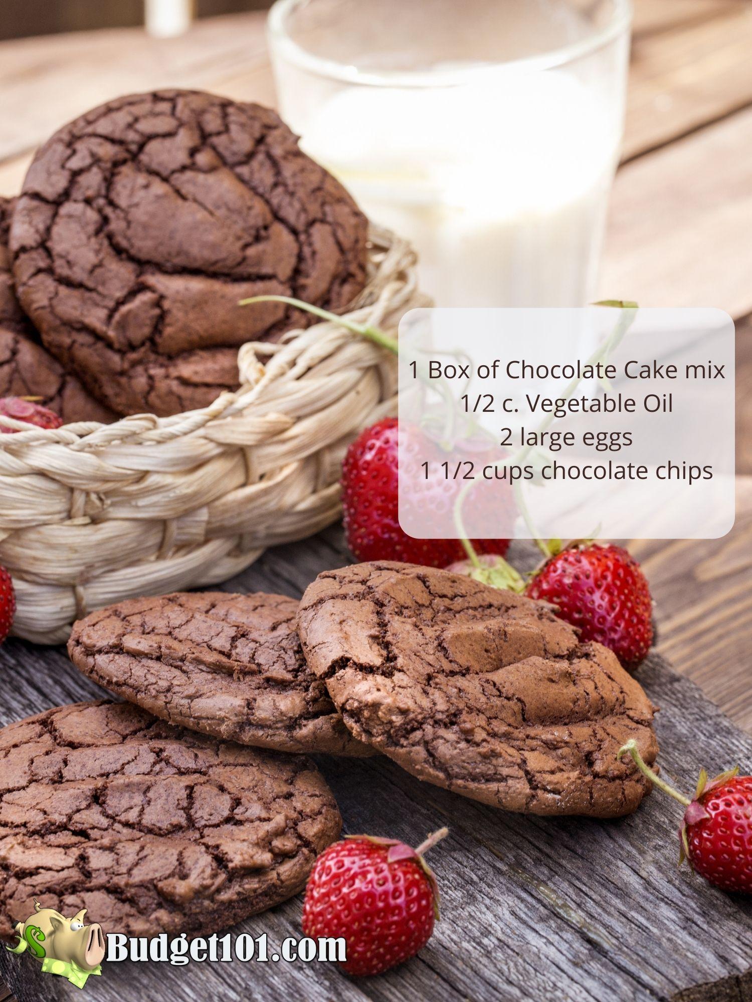 3 ingredient chocolate cake mix cookies budget101
