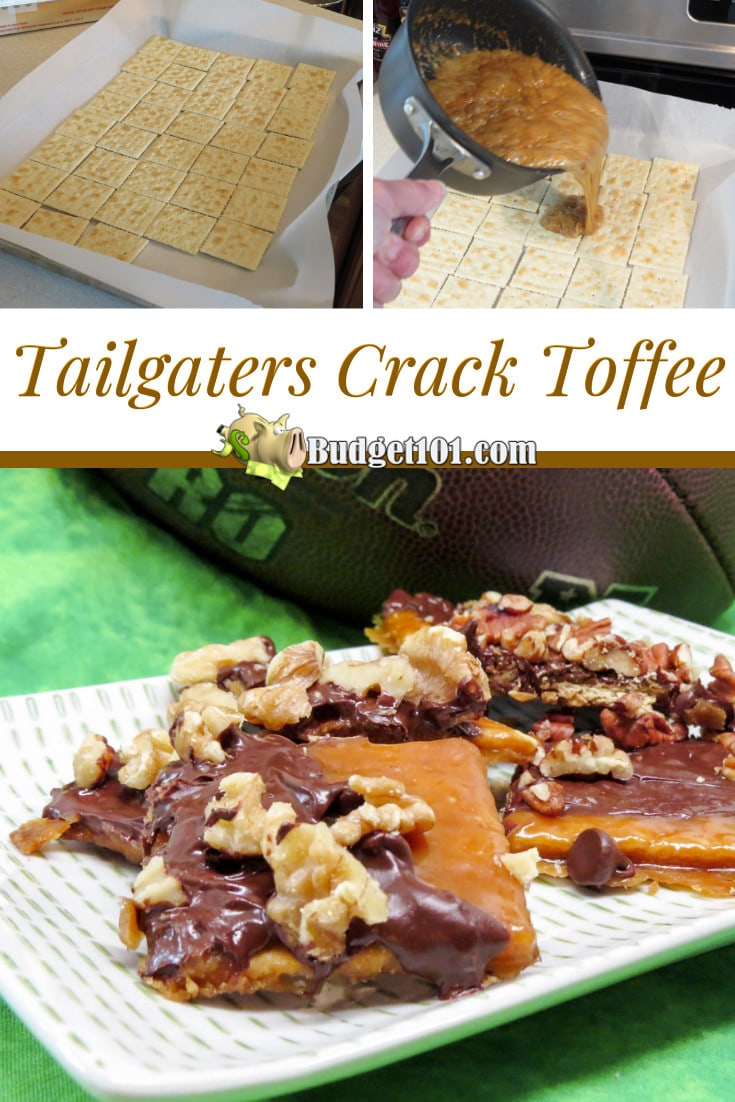 Tailgaters Crack Toffee- saltines enveloped in a rich, buttery toffee, smothered in milk chocolate and adorned with crunchy nuts. #Crack #Toffee #Budget101 #Tailgating #ChristmasCrack