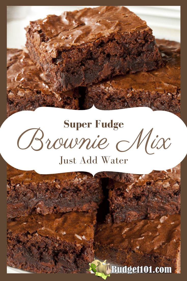 This make-ahead MYO Super Fudge Brownie mix only requires the addition of 1 simple ingredient before it heads to the oven... Water! #Budget101 #Brownies #HomemadeMixes #MYO #College
