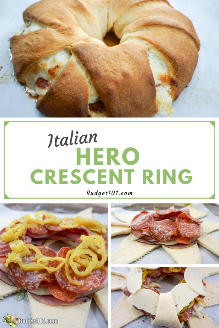 This Italian hero crescent ring is loaded with all the flavors of your favorite Italian sub but feeds a family quite nicely! #Italian #Hero #CrescentRolls #Budget101 #Whatsfordinner