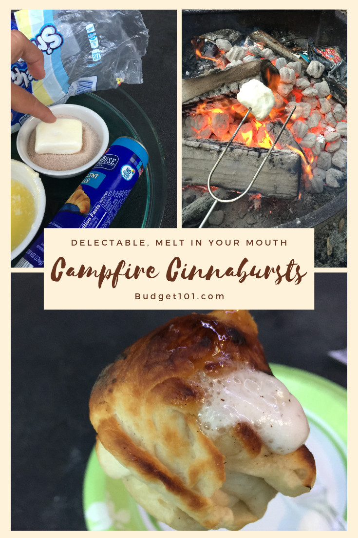 Campfire Cinnabursts on a stick is one of our favorite camping recipes! They taste like the middle of a cinnamon roll, as it cooks the marshmallow completely dissolves, mixing with the cinnamon creating the delicious melty gooey cinnamon center! #Budget101 #Cinnabursts #Cinnamon #Campfire #MYO