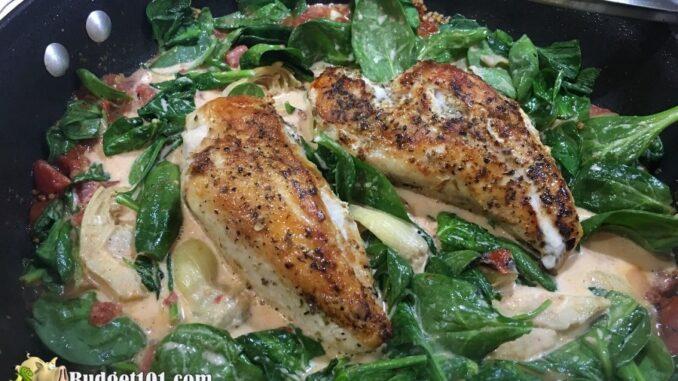 b101 skillet artichoke spinach chicken