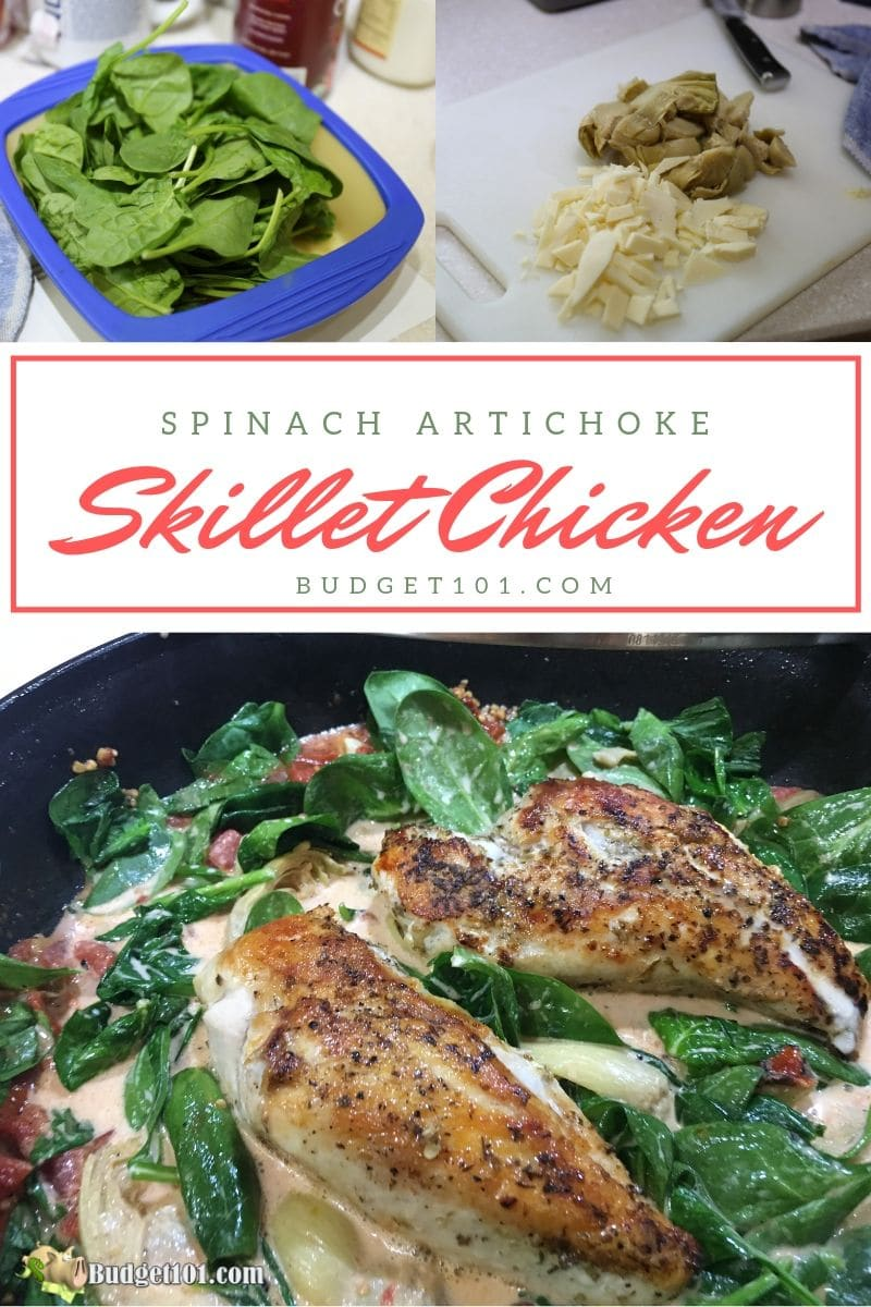 Spinach Artichoke Skillet Chicken- a one skillet low carb chicken dinner loaded with flavor and ready to serve in 20 minutes flat