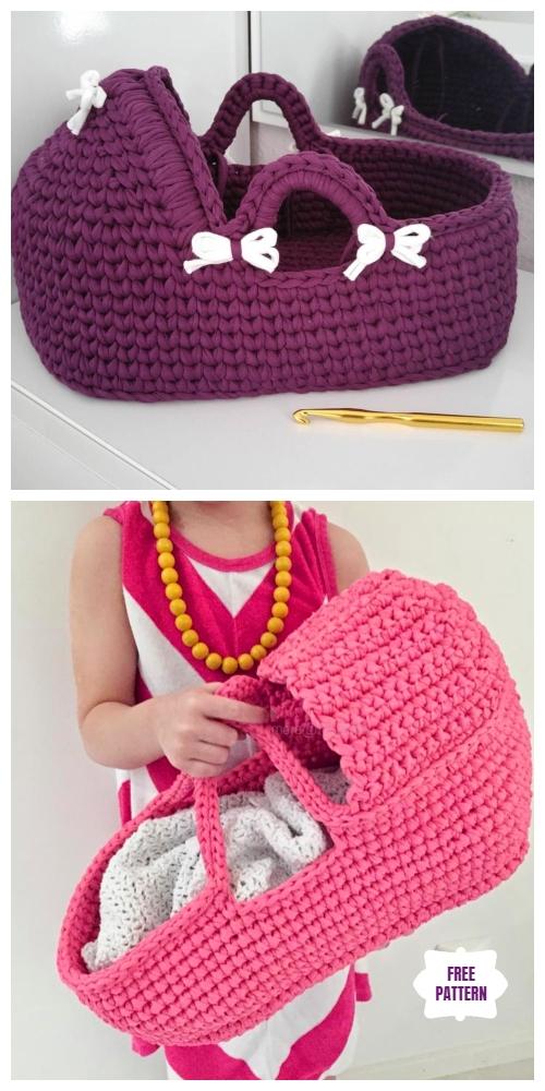 Crochet Cradle Basket for Baby