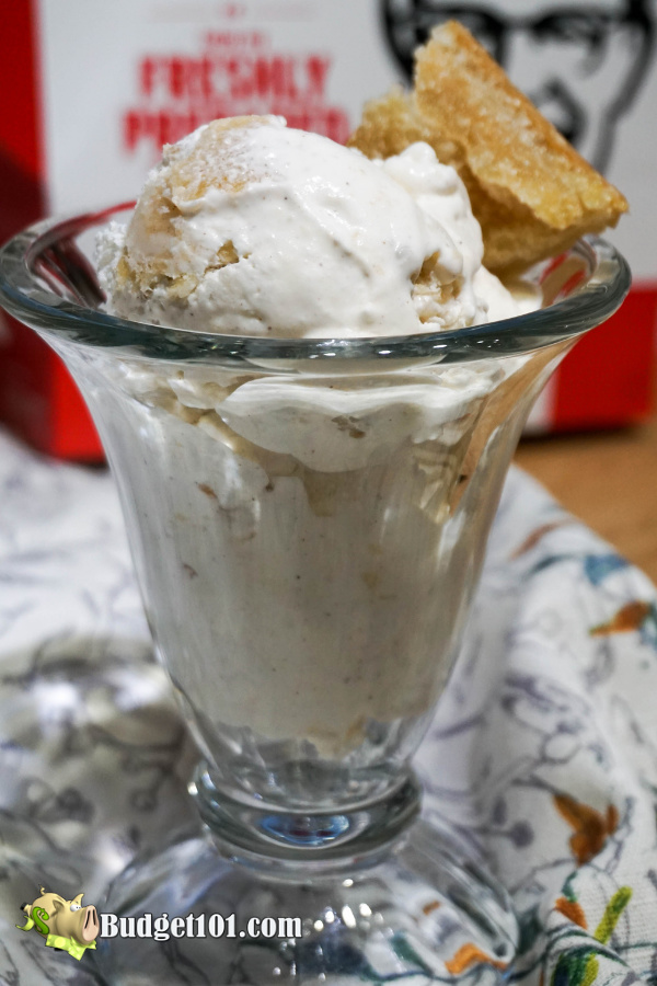Apple Pie al a mode Ice Cream- two amazing favorites come together to combine into one luscious dessert. #ApplePie #KFC #McCormick #Yum #MYO #Budget101