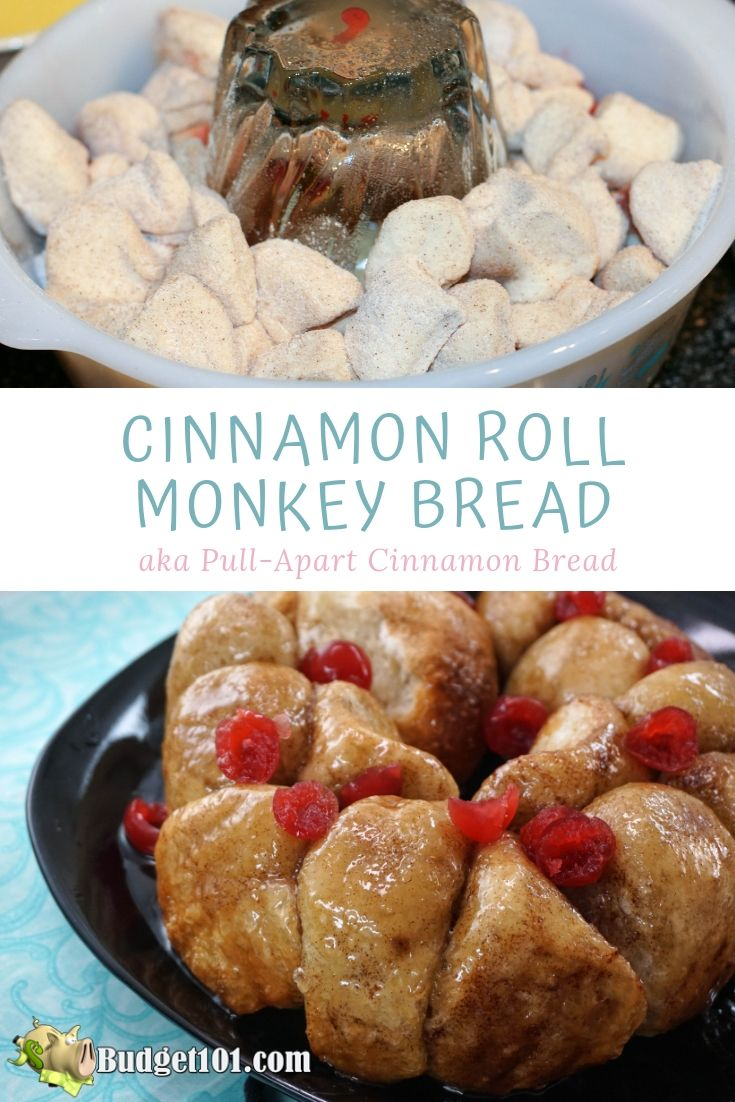 Cinnamon roll monkey bread is a pull-apart cinnamon bread that forms a lovely buttery caramel sauce in scrumptious dessert that takes less than 15 minutes #Cinnamon #MonkeyBread #PullApart #Dessert #YUM #Budget101