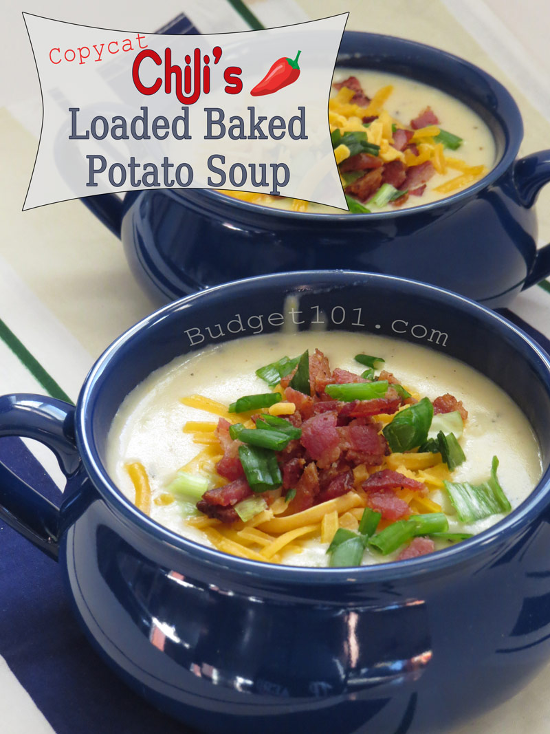 Love the taste of Chili's Loaded baked potato Soup? Now you can make a pot for the Entire family for the same price as 1 cup at the Restaurant! #Copycat #CloneRecipes #Chilis #Loadedbakedpotato #Soup