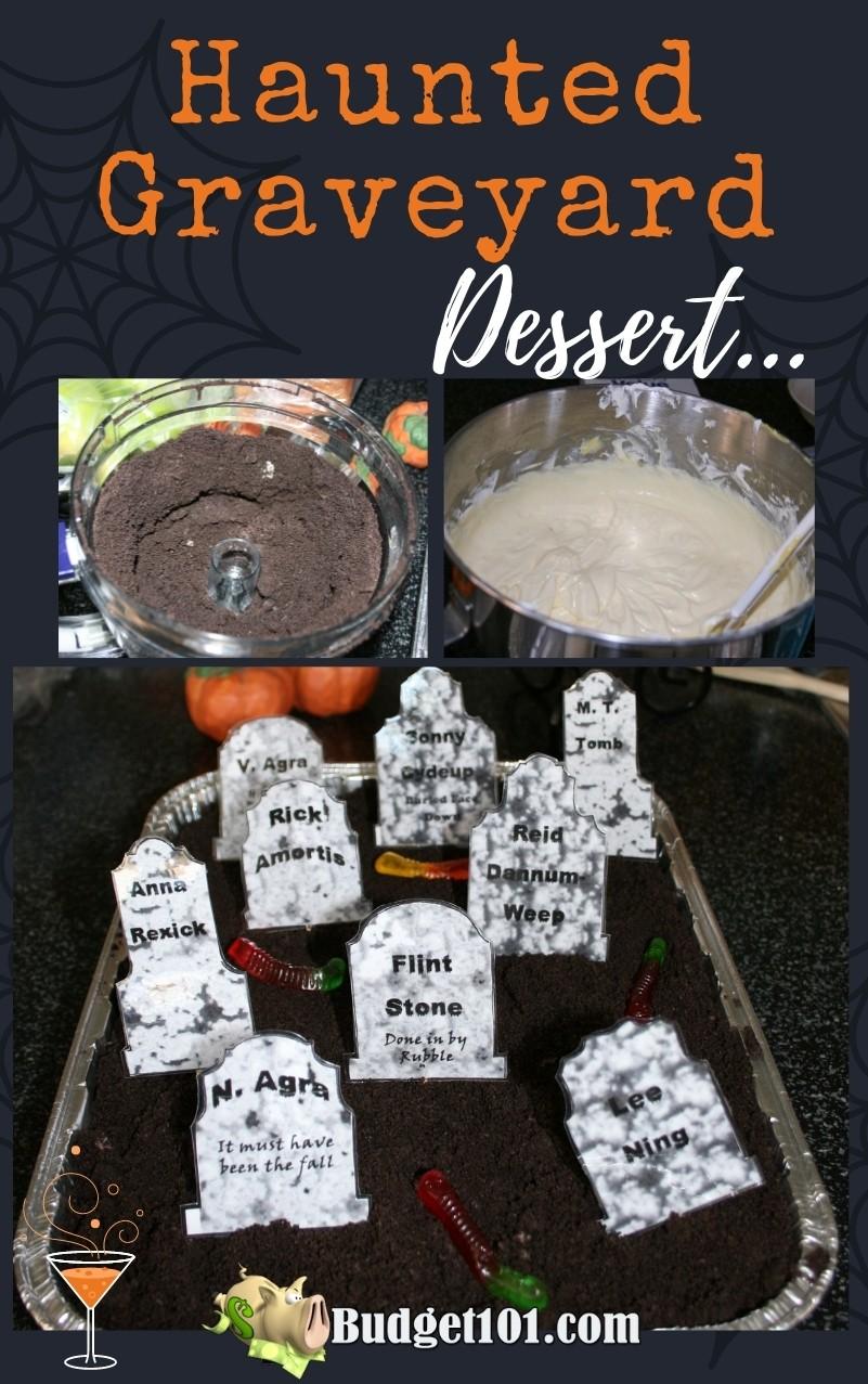 b101 haunted graveyard dirt pudding dessert with tombstones #Budget101 #Halloween #EerieEdibles