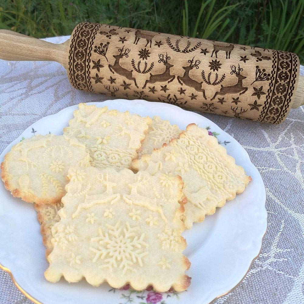 Embossed Christmas Rolling Pin