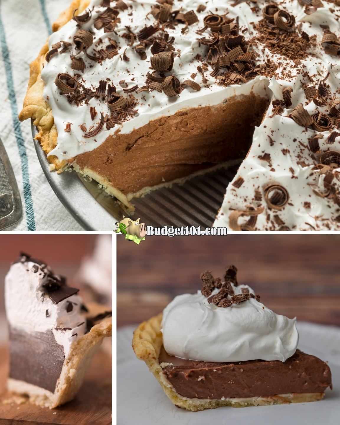 Chocolate Cream Pie can be made ahead of time and frozen, but there's a trick to it. Here's how we make chocolate cream pie weeks before thanksiving to save time on the big day #ChocolateCreamPie #OAMC #MakeAhead #FilltheFreezer #Budget101