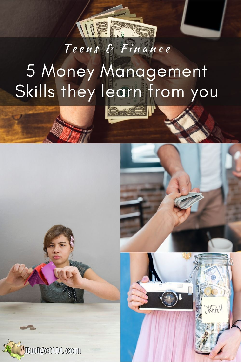When it comes to teens and finance they learn their money management skills from their parents, here are 5 ways you're teaching them, intentionally or not. #Budget101 #MoneyManagement #TeensandFinance