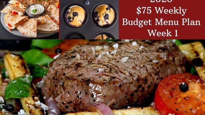 Budget101.com 20202 $75 Weekly Menu Plan week 1