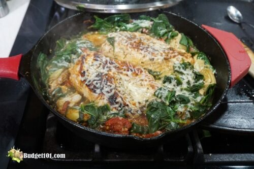 spinach artichoke skillet chicken