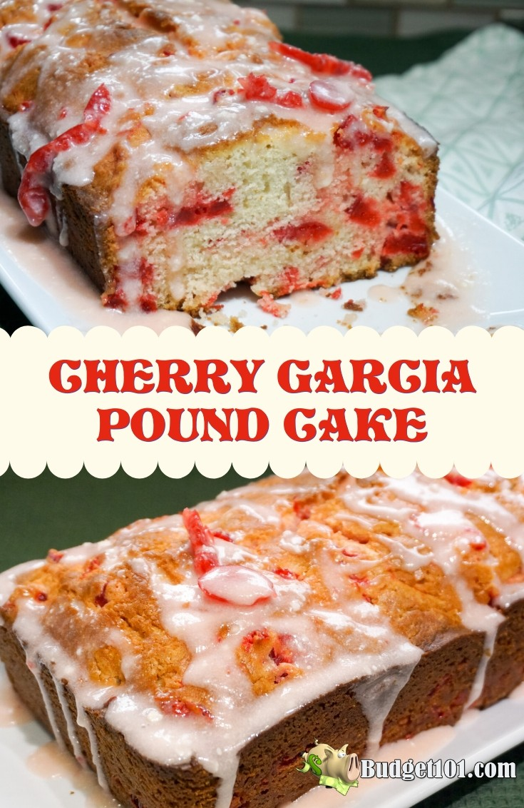 This cherry Garcia pound cake aka Cherry Garcia Loaf Cake is a delectable loaf of quick bread that is utterly loaded with juicy plump cherries #CherryGarcia #PoundCake #Budget101