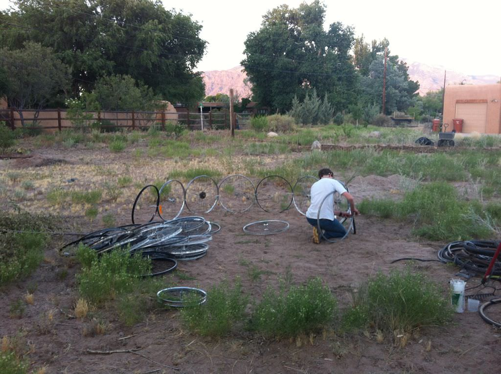 Bicycle Rim Garden Dome step2