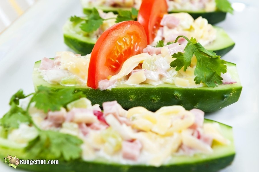 Ham, Cheese & Radish Cucumber Boats