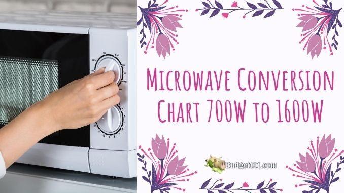 b101 microwave conversion chart 700w 1600w