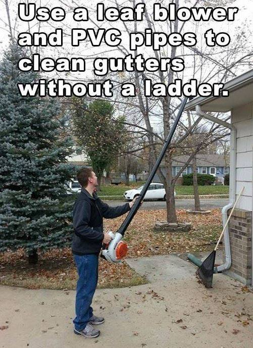 DIY Leaf Blower Gutter Attachment idea