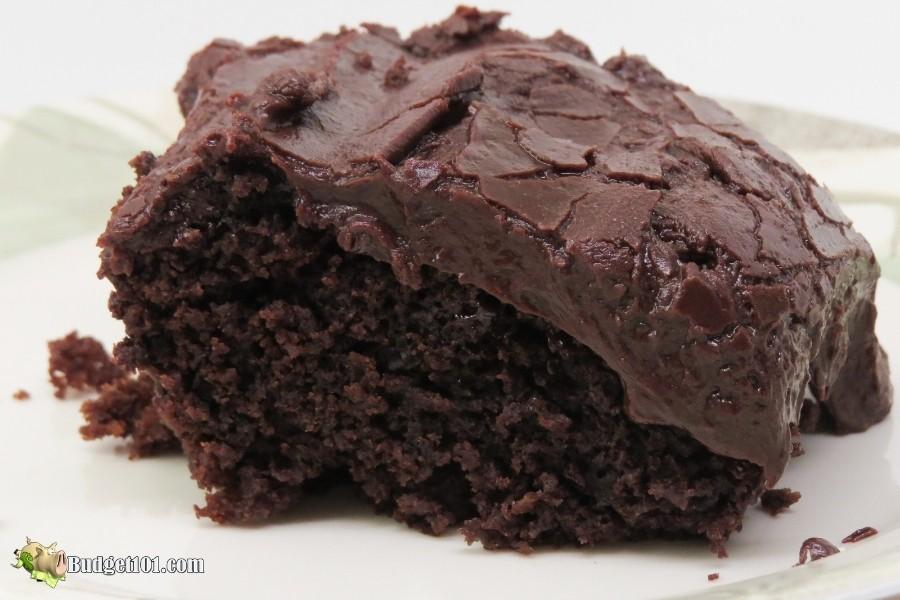 Wacky Kahlua Cake with 2-minute chocolate frosting
