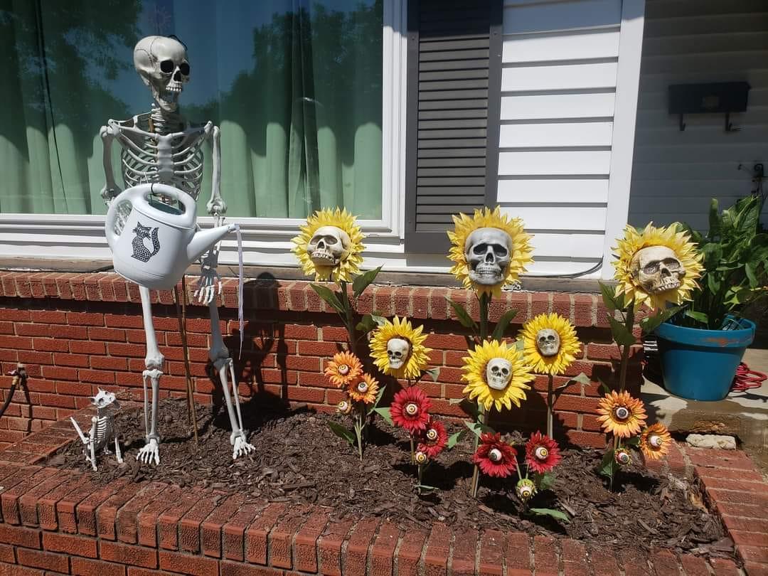 sunflower skull flower bed halloween decor