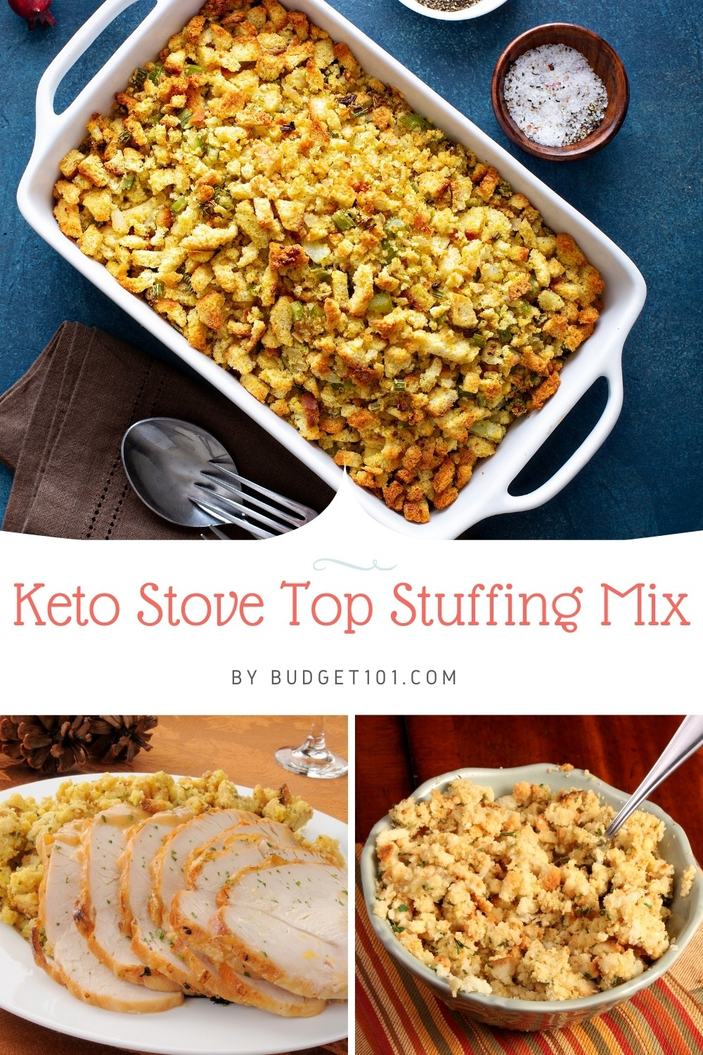 Recreate the flavor of your favorite Stovetop Stuffing with this From scratch keto-fied Copycat Stove Top Stuffing mix. #Budget101 #Keto #Ketorecipes #Thanksgiving