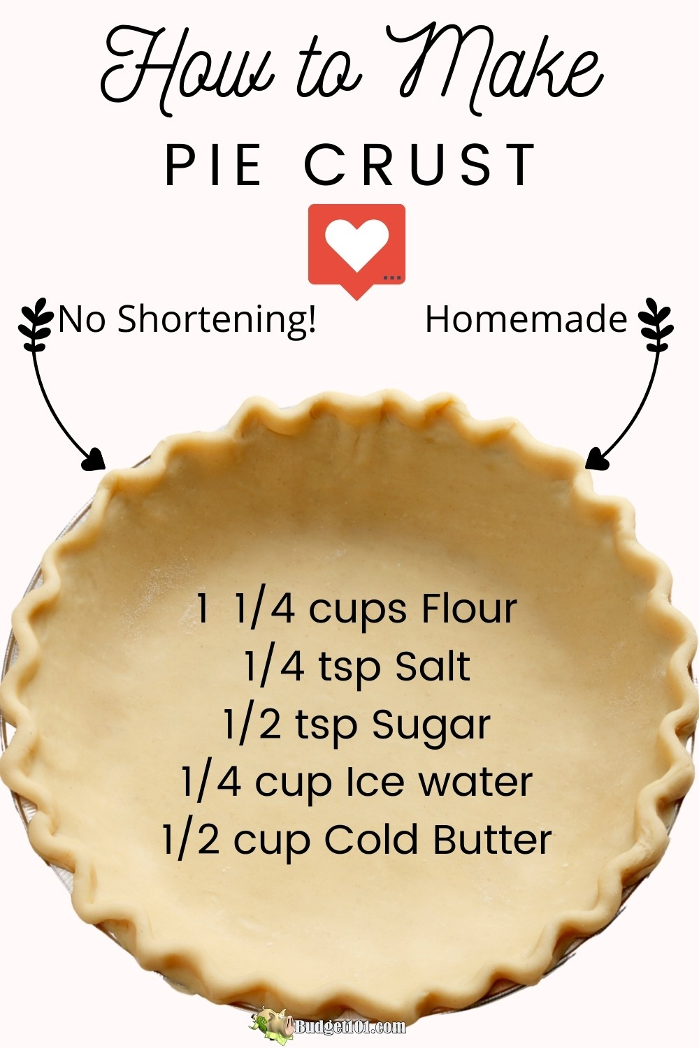 How to make an All Butter Pie Crust for perfect pie every single time, light, buttery, flaky and delicious! #MYO #makeyourown #Homemade #Piecrust #HolidayBaking #Budget101