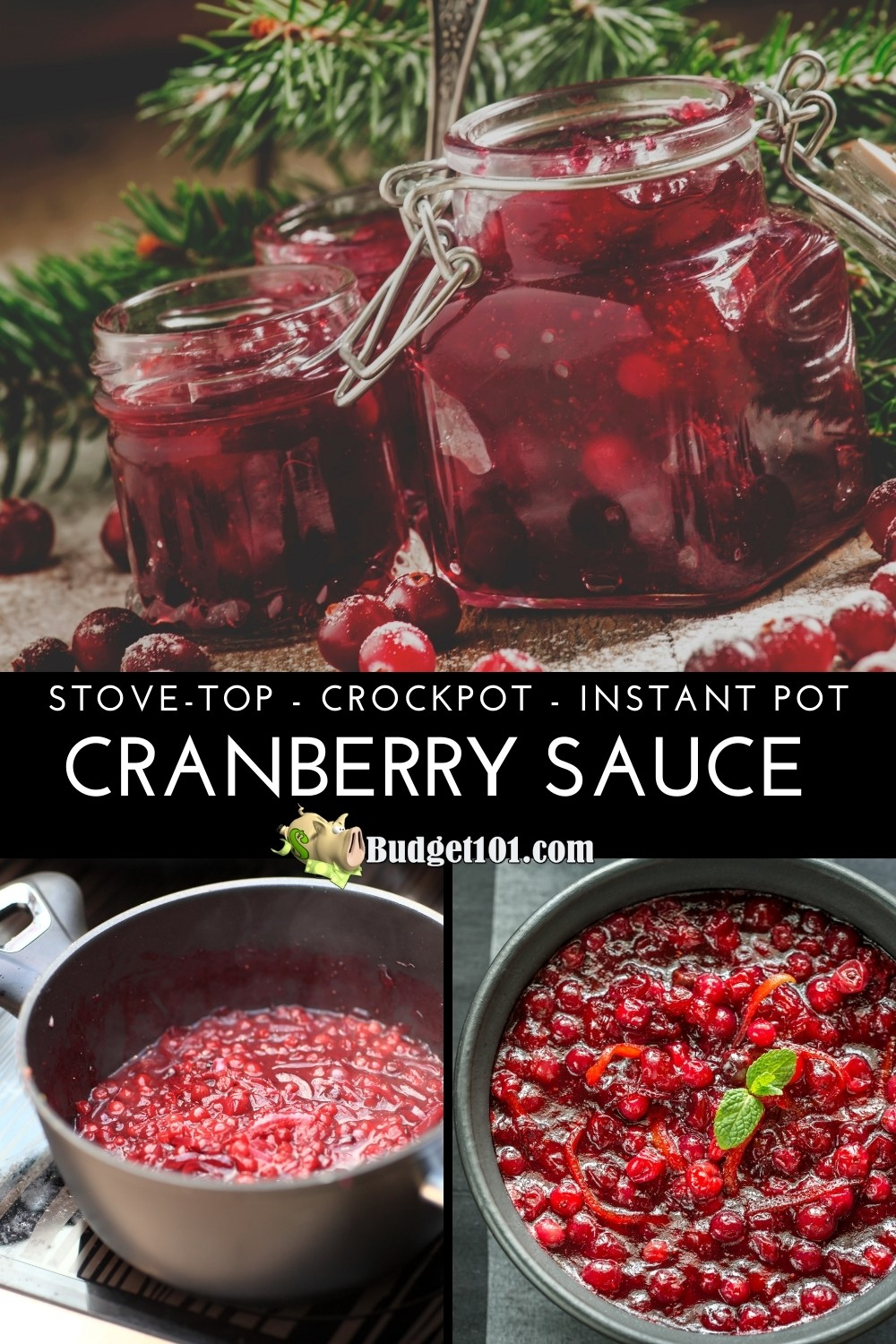 How to make whole berry or jellied cranberry sauce on the stove, crockpot, or instant pot #CranberrySauce #Thanksgiving #myo #makeyourown #homemade #fromscratch #Budget101