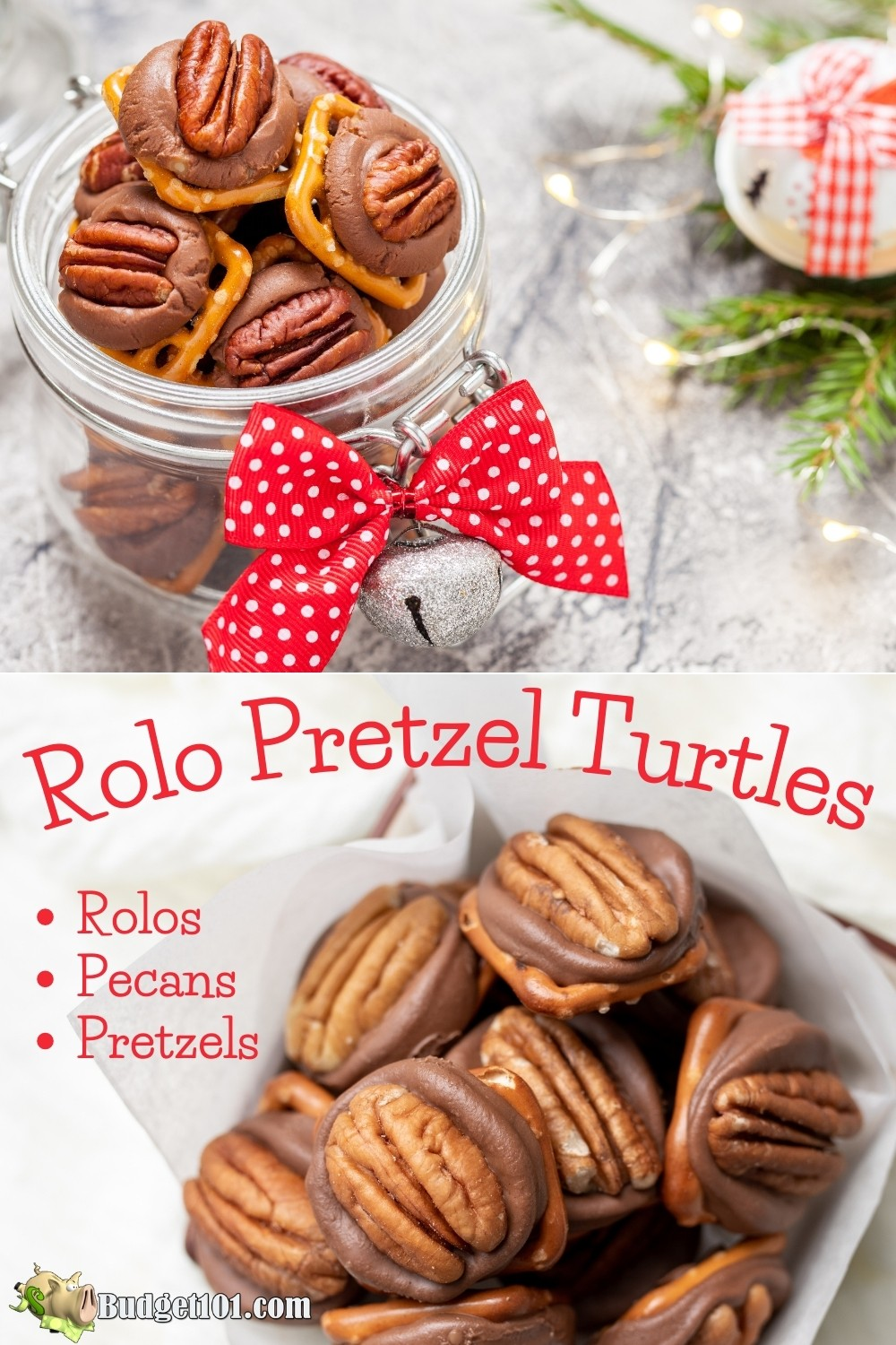 Rolo Pretzel Turtles aka Rolo Pretzel Bites are just 3 ingredients, rolos, pretzels and pecan halves. They take less than 10 minutes to make #Christmas #Thanksgiving #Holidays #giftideas #munchies #Budget101