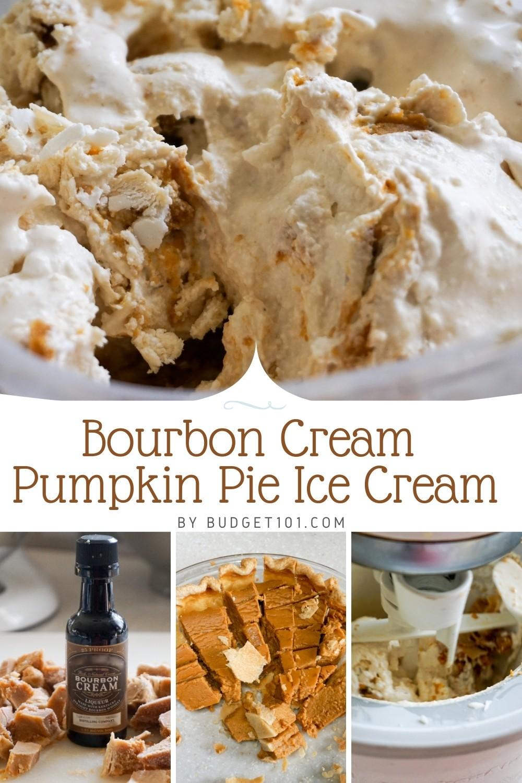 Transfer a piece of leftover pumpkin pie into this amazing bourbon cream pumpkin pie ice cream! #KentuckyBourbon #PumpkinPie #IceCream #Leftovers #MYO #homemade #Budget101
