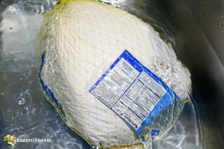 defrosting frozen turkey fast