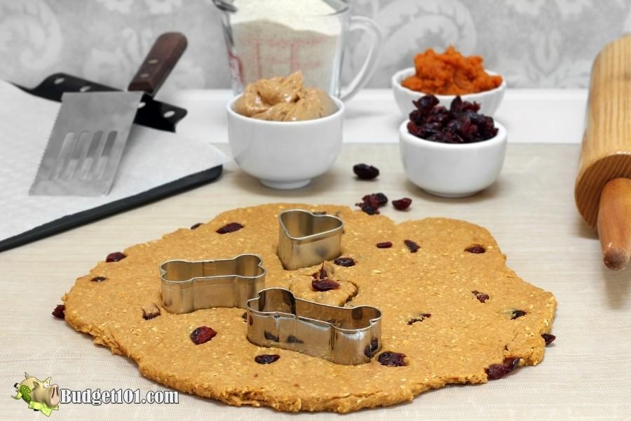homemade cranberry peanut butter dog treat dough