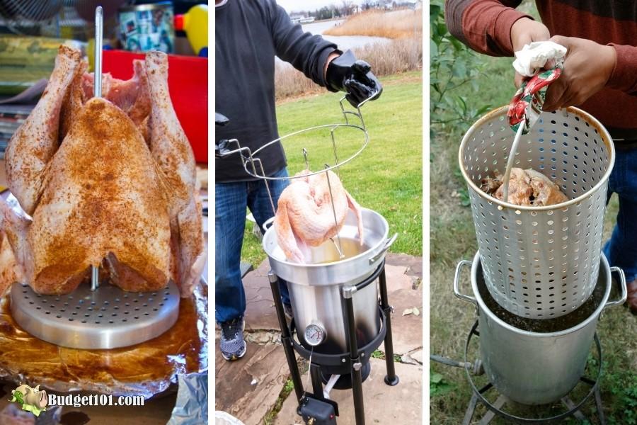 place turkey in fryer basket