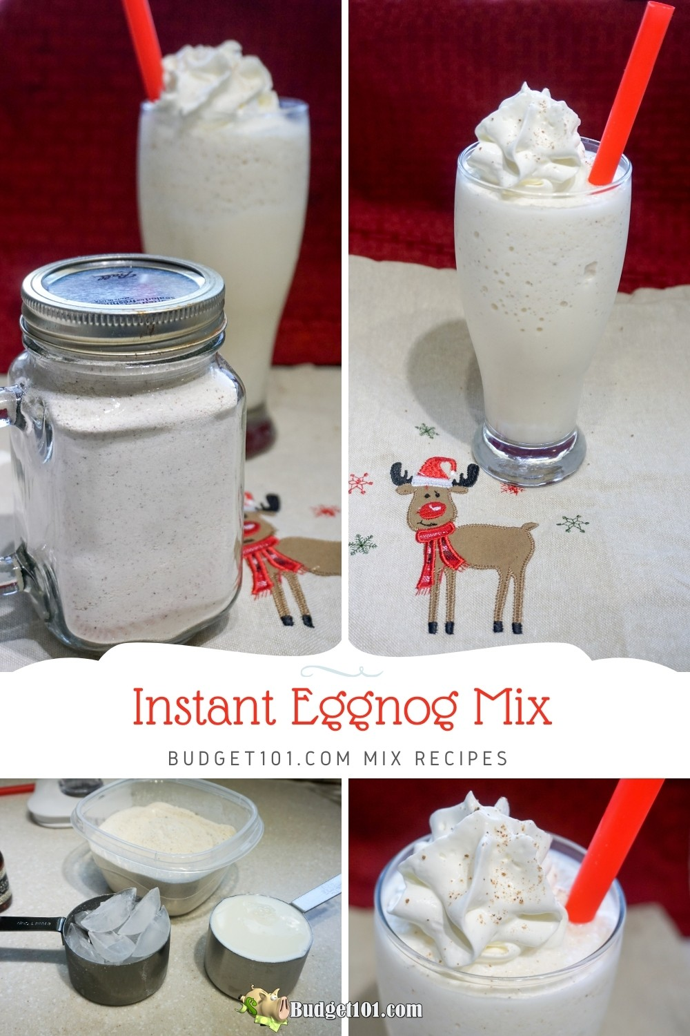 Make your own delicious, rich Instant Eggnog Mix for quick holiday drinks and cocktails, or as a lovely gift basket addition #eggnog #instanteggnog #nog #MYO #mixes #homemademixes #budget101 #budgetmixes