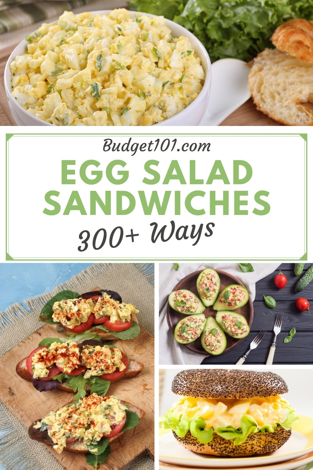 Egg salad doesn't have to be boring! Here are 300+ different flavor combination ideas to spruce up Egg Salad Sandwiches #eggsalad #MYO #DirtCheap #Frugal #LunchIdeas #EggSaladSandwich #WhatsForLunch #homemade