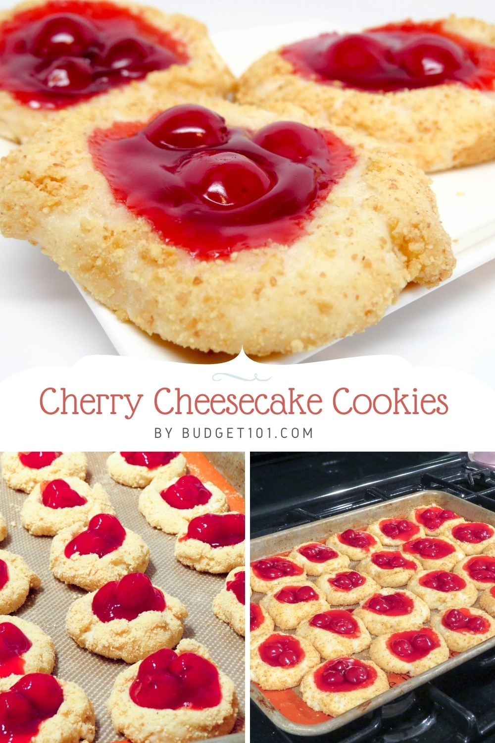 Bright red saucy cherries resting atop a cheesecake cookie platform dredged in graham cracker crumbs. Not only are they incredibly festive, but they're also one of the easiest holiday cookies to make! #CherryCheesecake #Christmas #ChristmasCookies #MYO #DirtCheap #HolidayBaking #Christmastime #Budget101 #MYO
