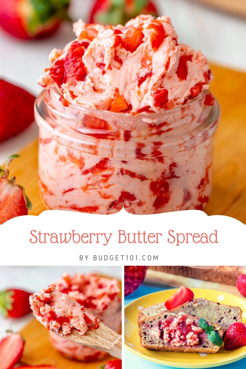 Delicious Homemade Strawberry Butter Spread with just 3 easy ingredients! A wonderful inexpensive compound butter that adds a burst of berry flavor to all it touches, #Strawberries #StrawberryButter #CompoundButter #MYO #dirtcheap #Budget101 #Giftsfromthekitchen #Homemade #fromscratch
