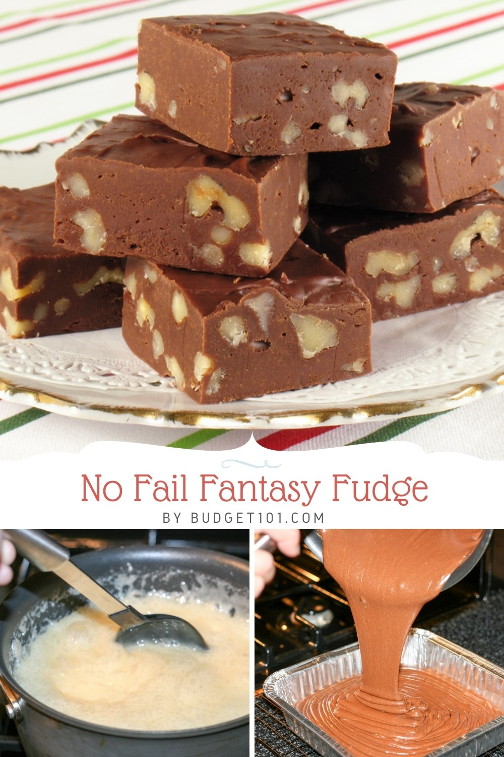 No Fail Fantasy Fudge- the most-forgiving recipe for even the most novice of candy-makers! Perfectly creamy, smooth, never grainy! #budget101 #fantasyfudge #myo #fromscratch #christmascandy